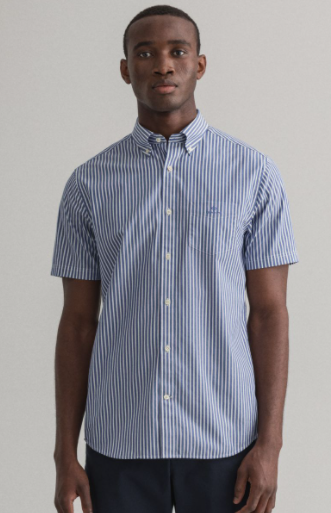 Poplin stripe short sleeve pacific blue - Herenmode